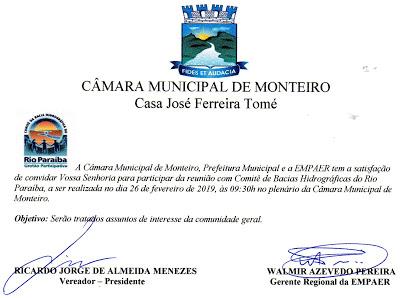 Câmara Municipal de Monteiro recebe mais um importante evento nesta terça feira
