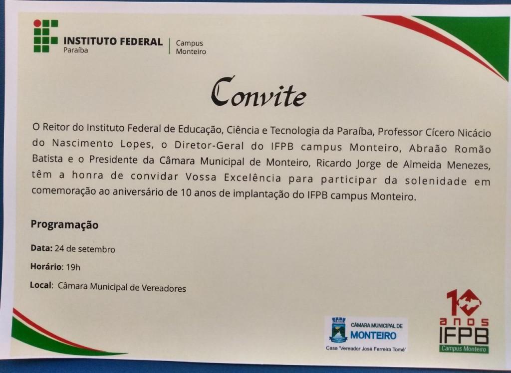 CONVITE- SOLENIDADE EM COMEMORAÇÃO AO ANIVERSÁRIO DE 10 ANOS DE IMPLANTAÇÃO DO IFPB CAMPOS MONTEIRO-PB.