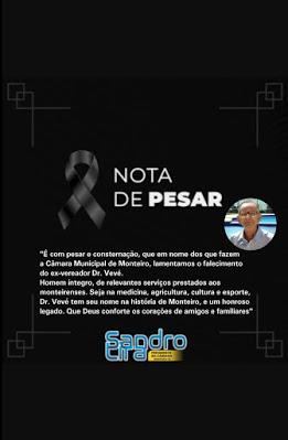 Câmara Municipal de Monteiro emite Nota de Pesar pelo falecimento do ex-vereador Dr. Vevé.